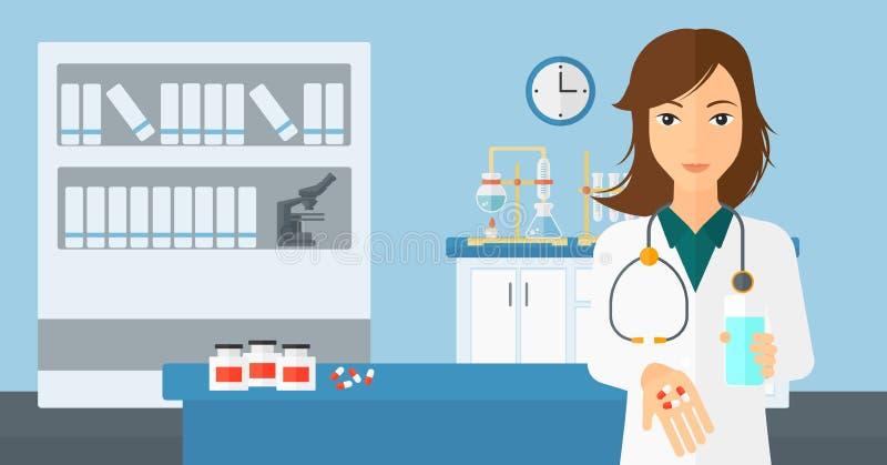 Farmaceuta daje pigułkom royalty ilustracja
