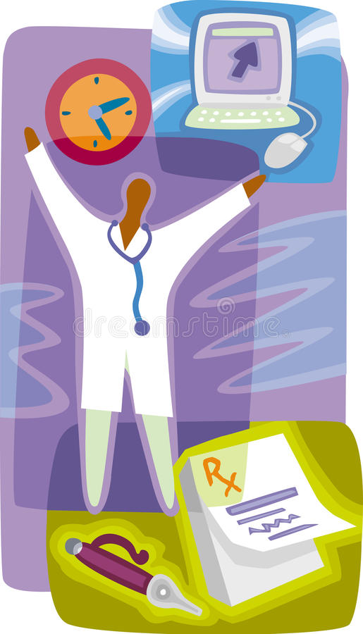 Farmaceuta; recepta; komputer ilustracja wektor