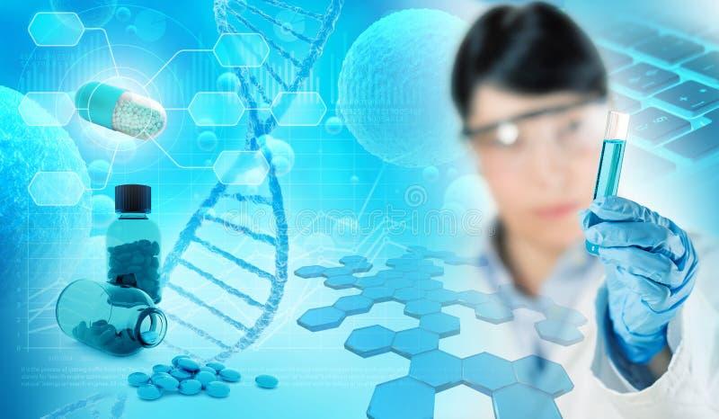 Farmaceutisch en chemisch onderzoekconcept royalty-vrije illustratie