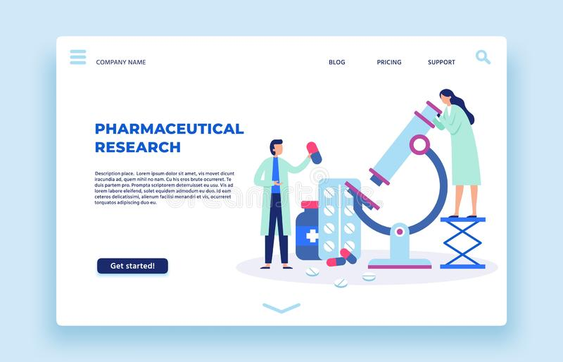 Farmaceutisch onderzoek Wetenschapperslaboratorium, farmaciewetenschapper en het landingspaginavector van laboratoriumonderzoeker stock illustratie