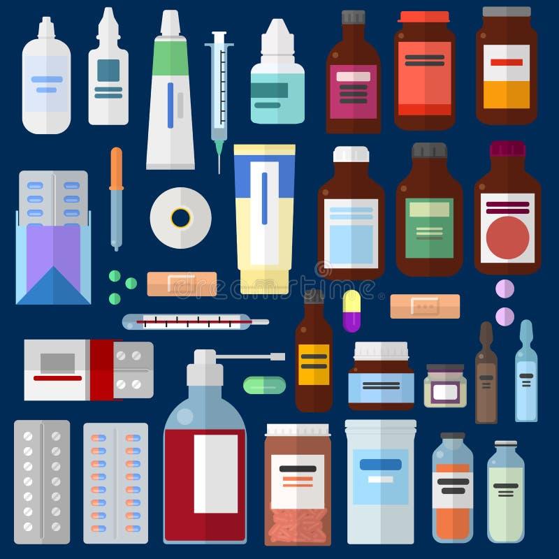 Farmaceutisk medicinbeståndsdelsamling vektor illustrationer