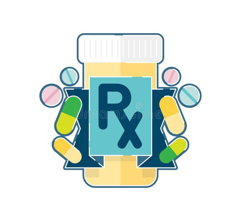 Farmaceutiska medicinpreventivpillerar för recept med det Rx symbolet stock illustrationer