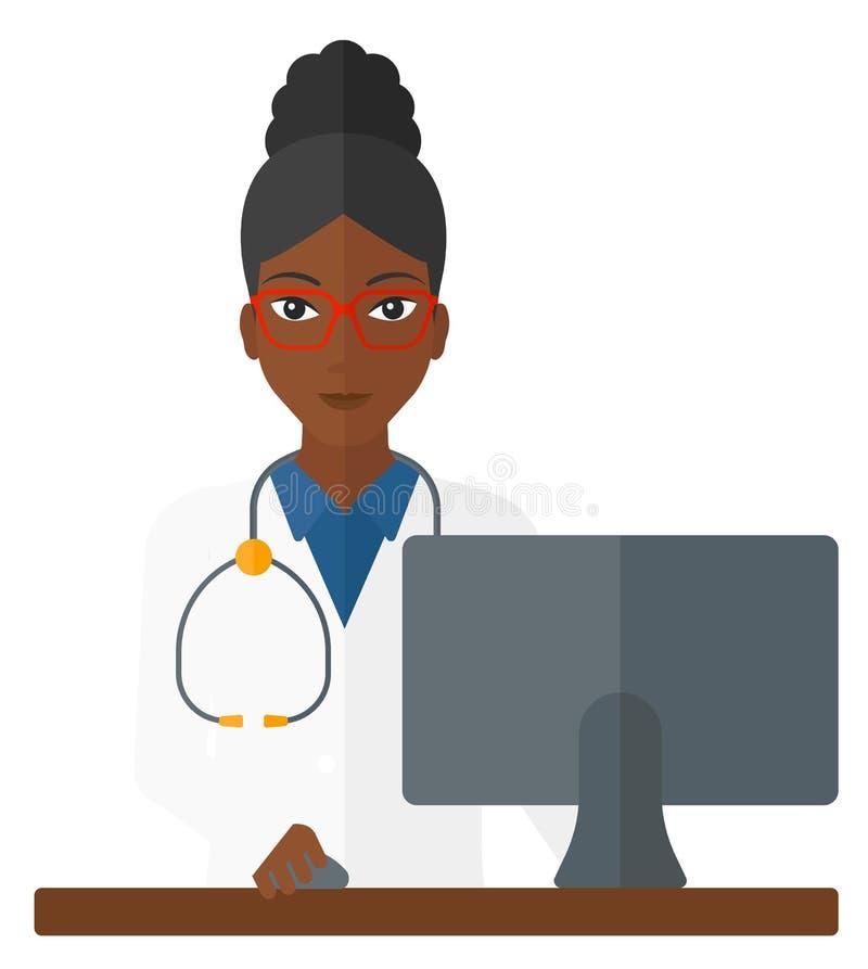 Farmaceuty pozycja przy kontuarem royalty ilustracja
