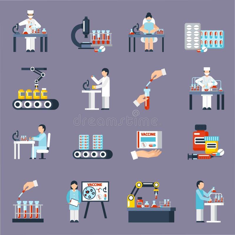 Farmaceutyczne produkcj ikony Ustawiać royalty ilustracja