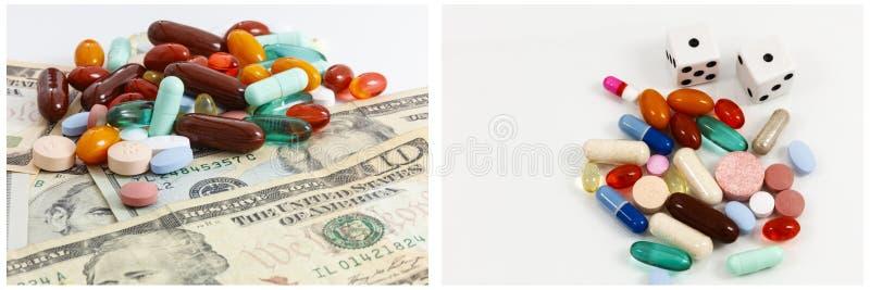 Farmaci da vendere su ricetta medica dei soldi che giocano collage fotografia stock libera da diritti