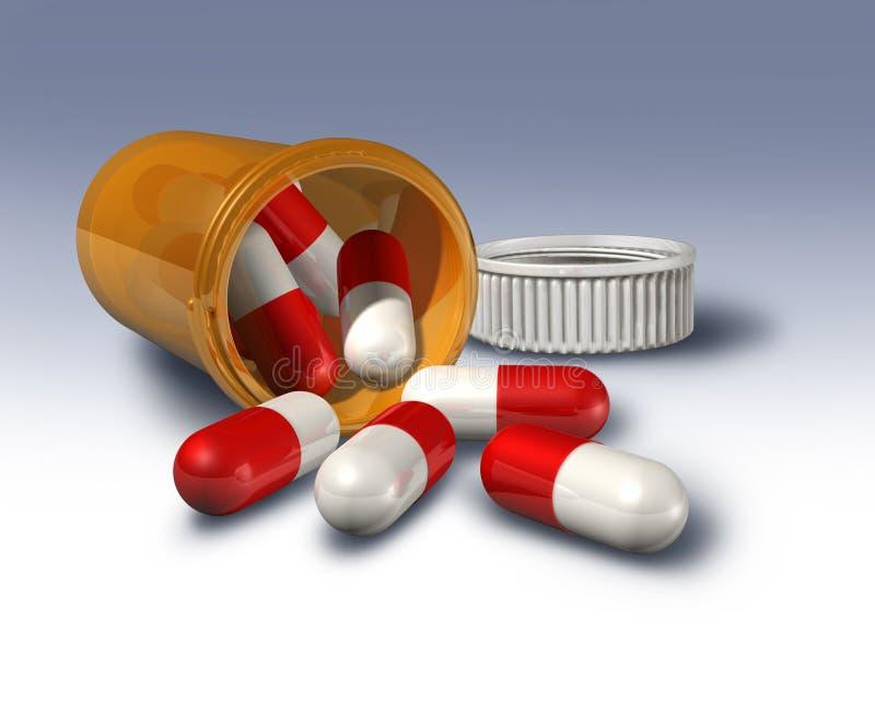 Farmaci da vendere su ricetta medica della bottiglia di pillola royalty illustrazione gratis