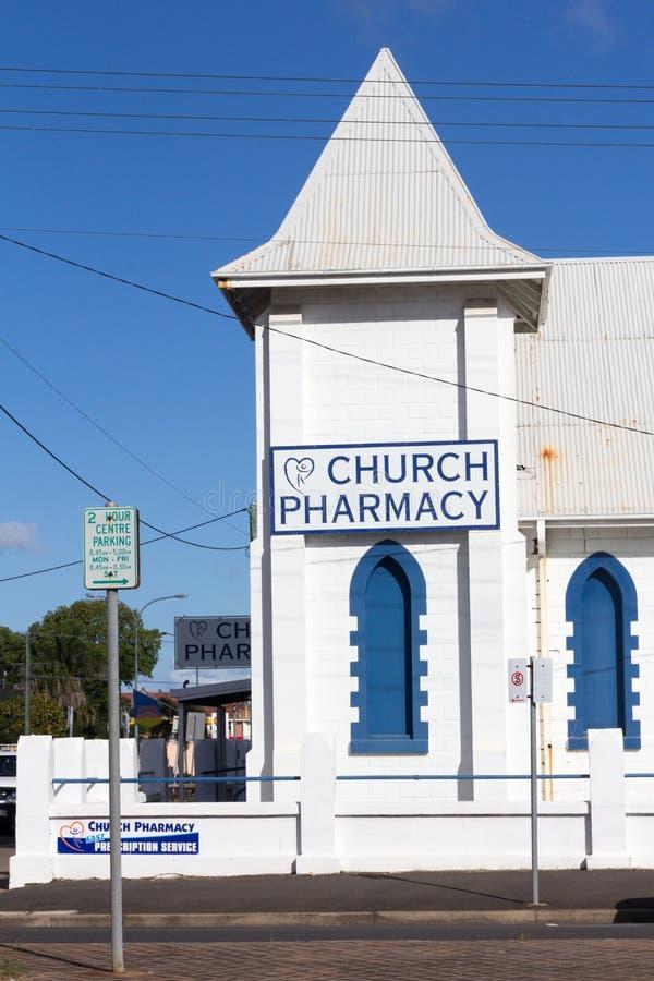 Farmacia de la iglesia antes la iglesia de Cristo, Bundaberg, Queensland, Australia imágenes de archivo libres de regalías