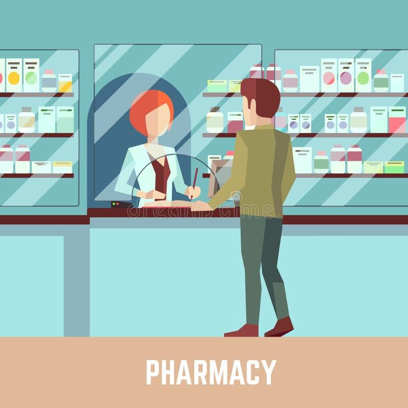 Farmacia della farmacia con il farmacista ed il cliente Fondo di vettore di concetto di sanità illustrazione vettoriale