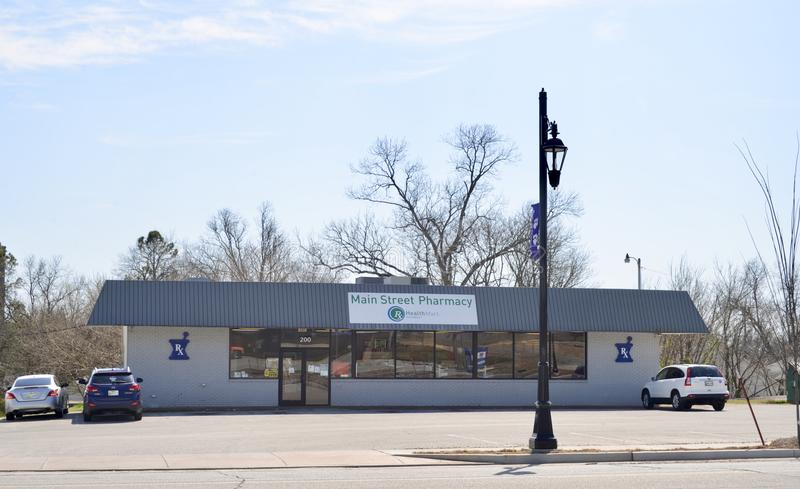 Farmacia di Main Street, Brownsville, Tennessee immagine stock libera da diritti