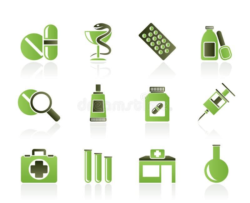 Farmacia e iconos médicos ilustración del vector