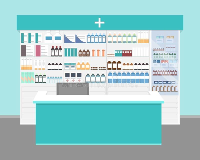 farmacia Interior moderno de la farmacia con las medicinas y las vitaminas libre illustration