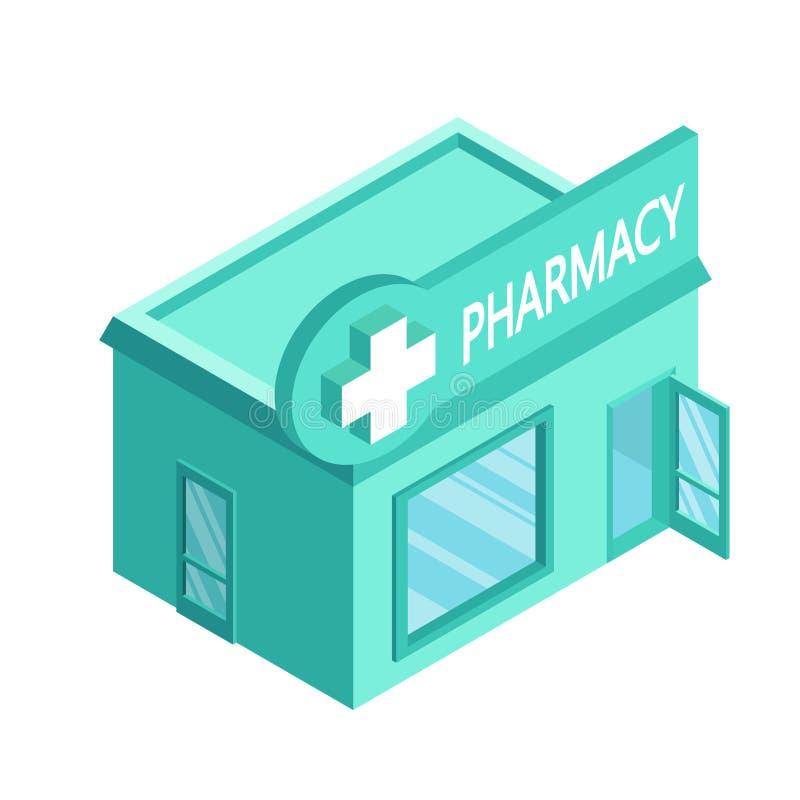 Farmacia isometrica di vettore Facciata del deposito della farmacia isolata su fondo bianco Casa della farmacia Deposito della fa royalty illustrazione gratis