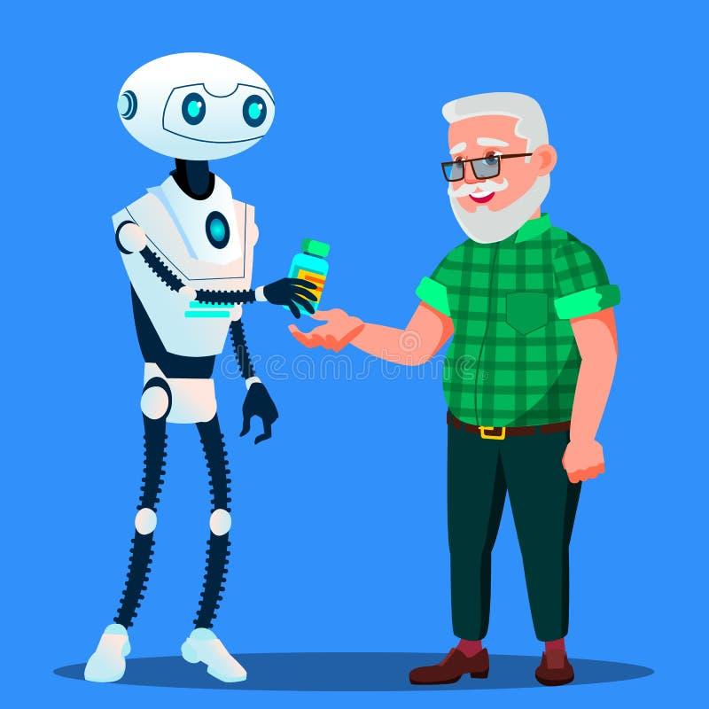 Farmacista del robot, il dottore Gives Tablets, pillole al vettore dell'uomo anziano Illustrazione isolata illustrazione vettoriale