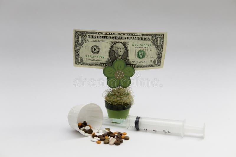 Farmaco e pianta dei soldi ai precedenti bianchi immagini stock libere da diritti