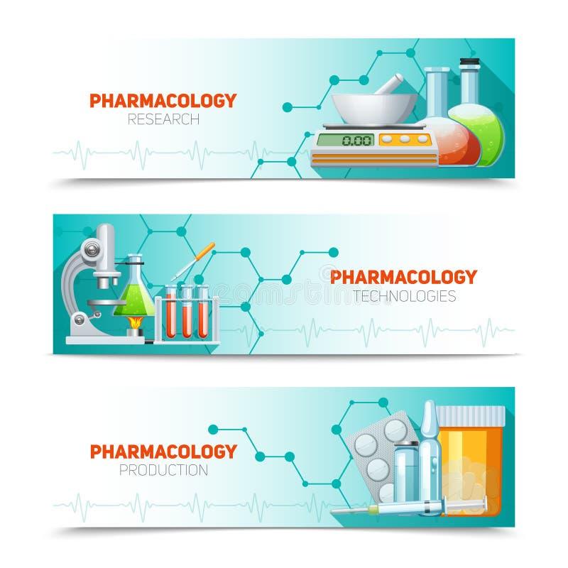 Farmacología 3 banderas horizontales fijadas ilustración del vector