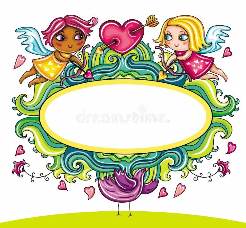 Farme floreale del fumetto di giorno del biglietto di S. Valentino royalty illustrazione gratis