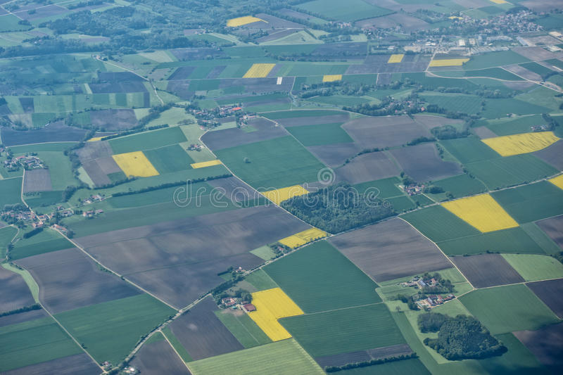 Farmed fields aerial view royalty free stock image