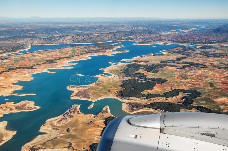 Farmed fields aerial view from airplane near Madrid royalty free stock images