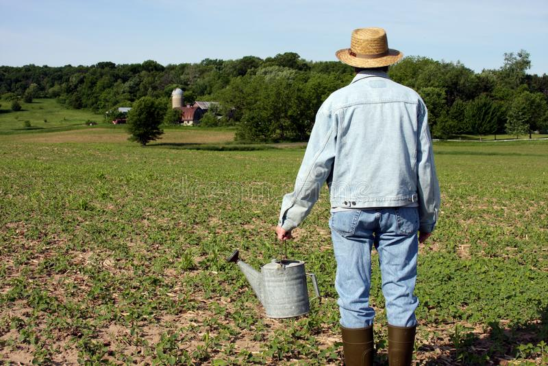 Farmer έξω στον τομέα του στοκ εικόνες