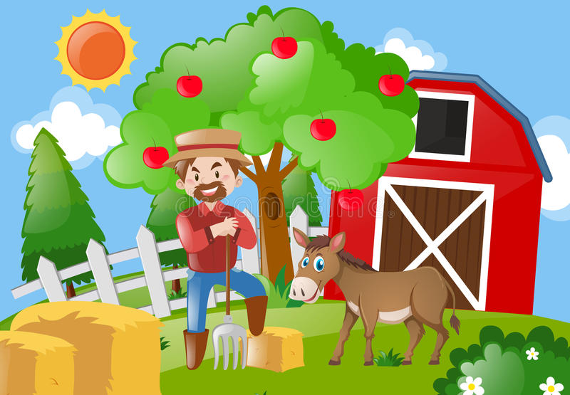 Farmer και γάιδαρος στην αυλή απεικόνιση αποθεμάτων