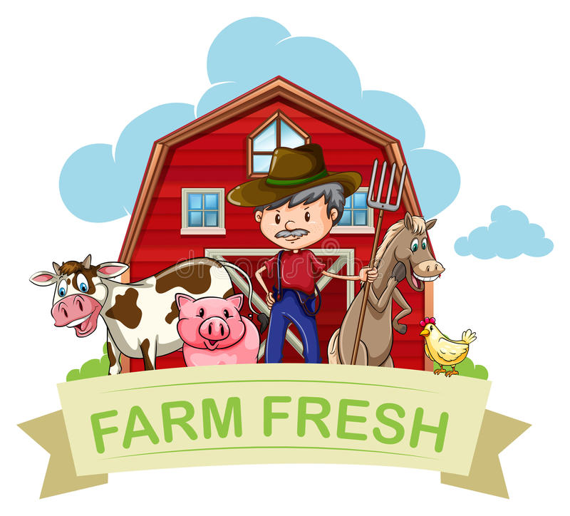 Farmer και ζώα αγροκτημάτων με το έμβλημα διανυσματική απεικόνιση