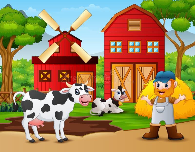 Farmer και ζώο αγροκτημάτων μπροστά από τη σιταποθήκη ελεύθερη απεικόνιση δικαιώματος