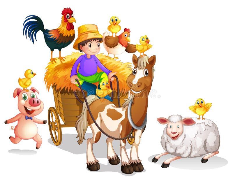 Farmer και πολλά ζώα αγροκτημάτων διανυσματική απεικόνιση