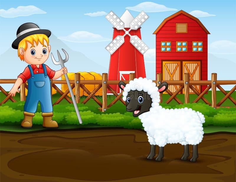 Farmer με ένα πρόβατο μπροστά από τη σιταποθήκη του διανυσματική απεικόνιση