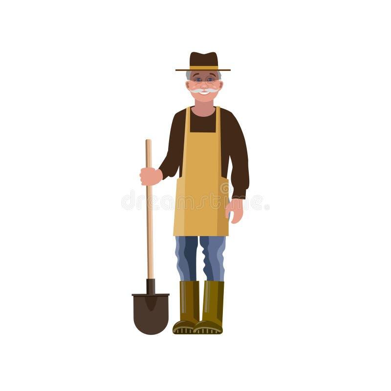 Farmer με ένα φτυάρι διανυσματική απεικόνιση