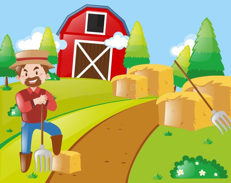 Farmer που λειτουργεί στην αυλή διανυσματική απεικόνιση