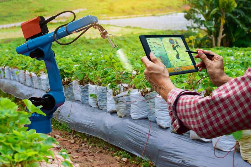 Farmer που κρατά γεωργικά μηχανήματα εργασίας ρομπότ βραχιόνων ταμπλετών έξυπνα στοκ εικόνα