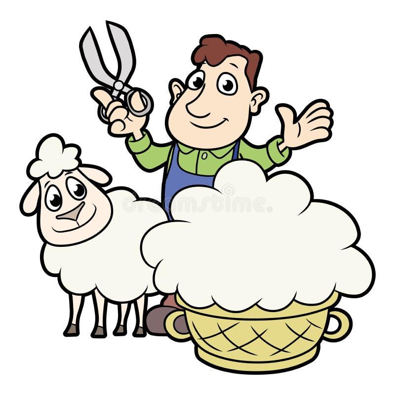 Farmer που το μαλλί από τα πρόβατα απεικόνιση αποθεμάτων