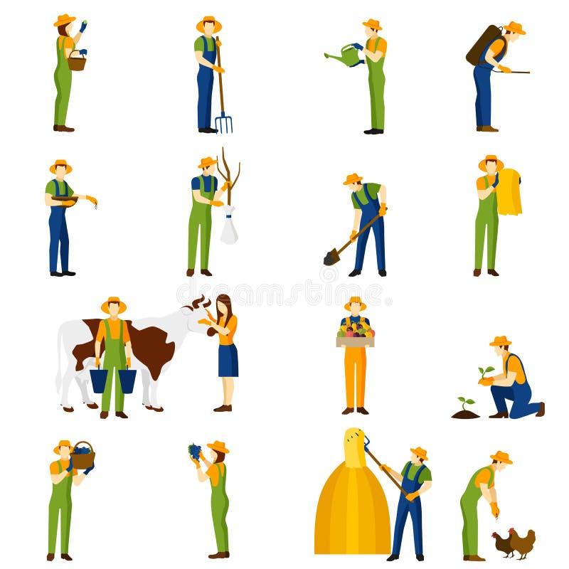 Farmer στα επίπεδα εικονίδια εργασίας καθορισμένα διανυσματική απεικόνιση
