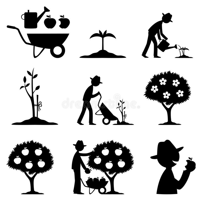 Farmer and apple harvest. Vector set of icons farmer and apple harvest royalty free illustration