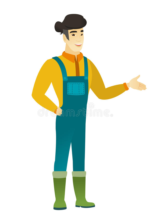 Farmer with arm out in a welcoming gesture. Full length of welcoming young asian farmer in coveralls. Farmer doing a welcome gesture. Vector flat design stock illustration