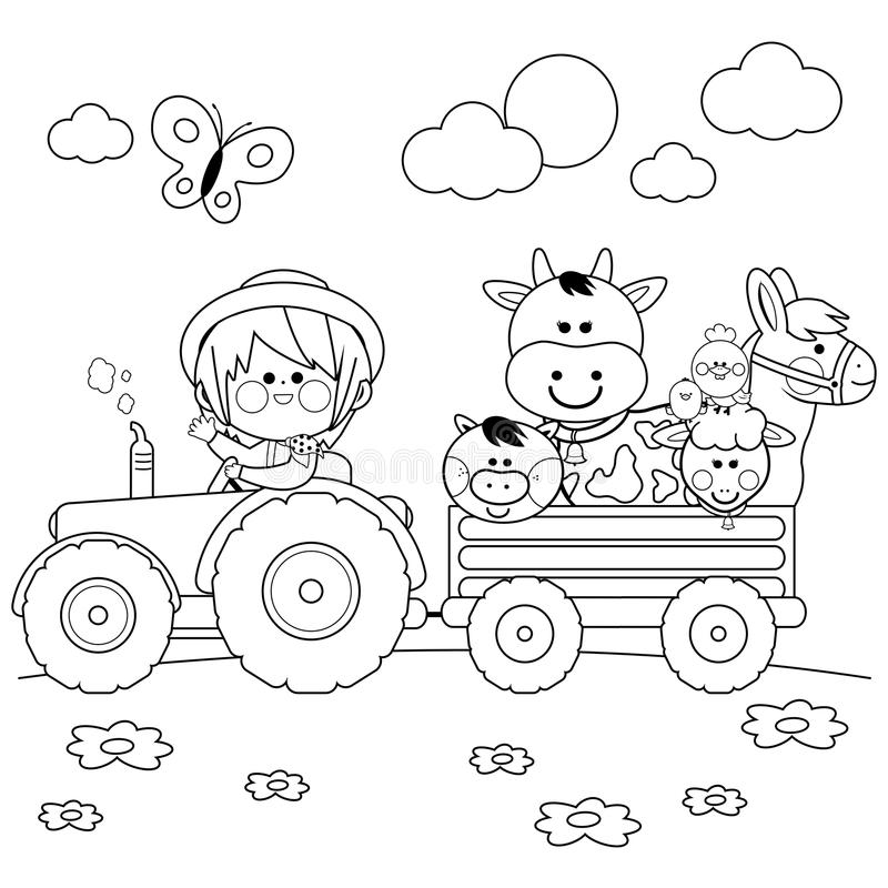 Farmer boy driving a tractor and carrying farm animals. Black and white coloring book page. Little farmer boy at the farm driving a tractor, carrying animals: A stock illustration