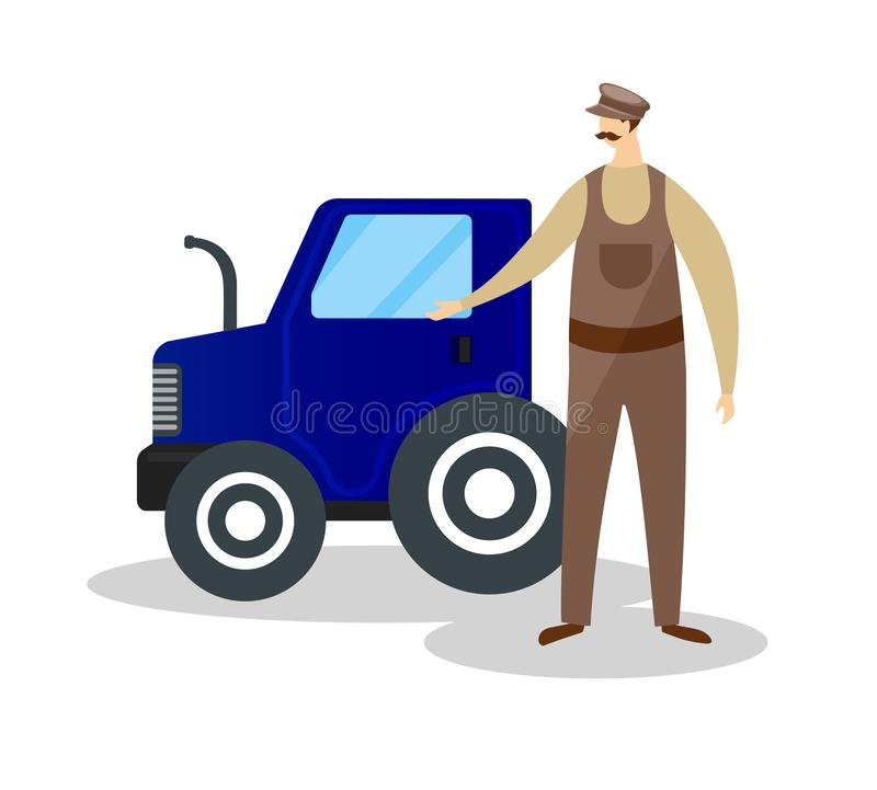 Farmer in Cap and Overalls Stand near Blue Tractor. Whiskered Farmer in Cap and Overalls Standing near Blue Tractor Isolated on White Background. Male vector illustration