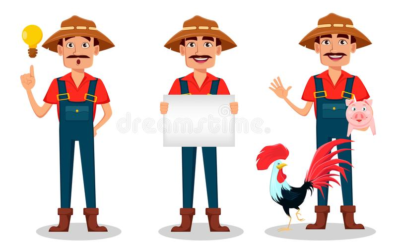 Farmer cartoon character set. Cheerful gardener holds blank placard, has a good idea and stands with rooster and pig. Vector illustration isolated on white vector illustration