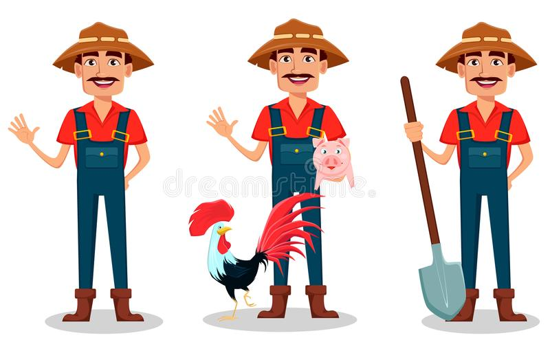 Farmer cartoon character set. Cheerful gardener waves hand, stands with farm animals and holds shovel. stock illustration