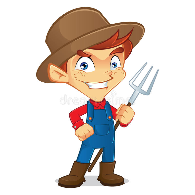 Farmer holding rake royalty free illustration