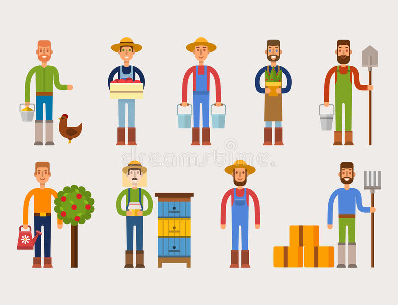 Farmer character man agriculture person profession rural gardener worker people vector illustration. Funny farmer character isolated cartoon man agriculture stock illustration