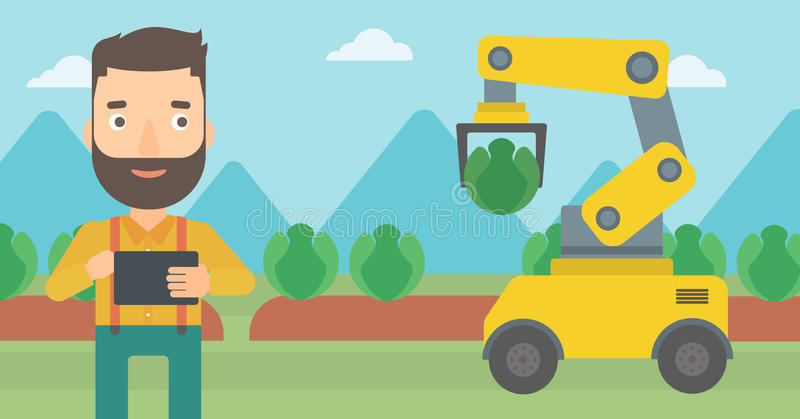 Farmer checking work of robot at the field. stock illustration