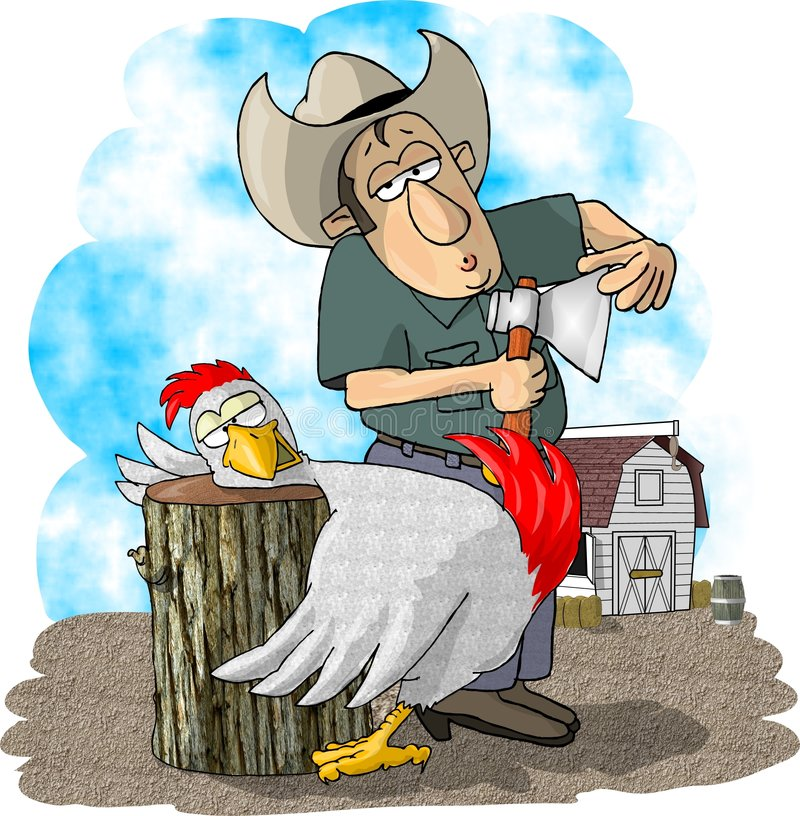 Farmer and chicken royalty free illustration