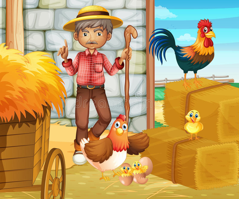 Farmer and chickens in the barn royalty free illustration