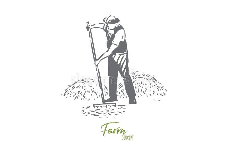 Farmer chores concept sketch. Isolated vector illustration. Farmer chores concept sketch. Farming business, rural economy, countryside lifestyle, faceless farm stock illustration