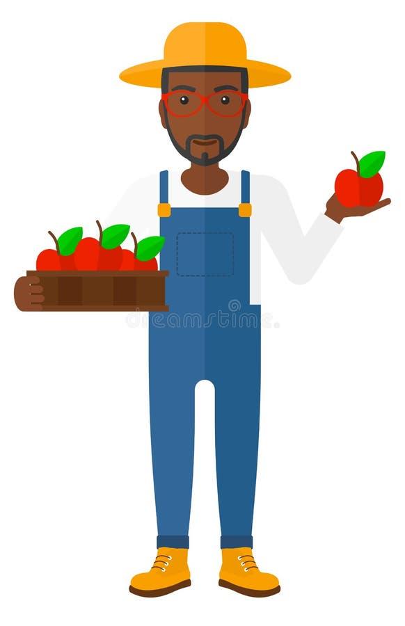 Farmer collecting apples stock illustration