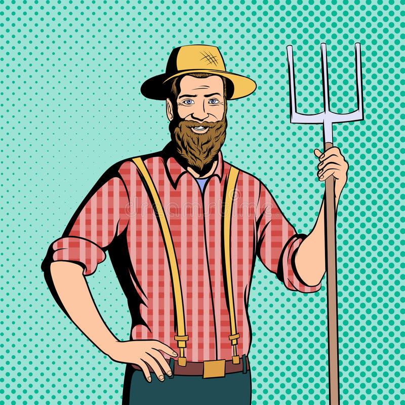 Farmer comics character. Farmer character in comics style for web and mobile devices royalty free illustration