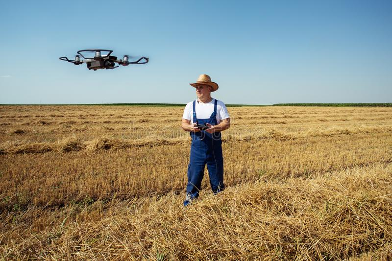 Farmer Control a drone on the wheat field. Young Farmer Control a new drone on the wheat field royalty free stock photo