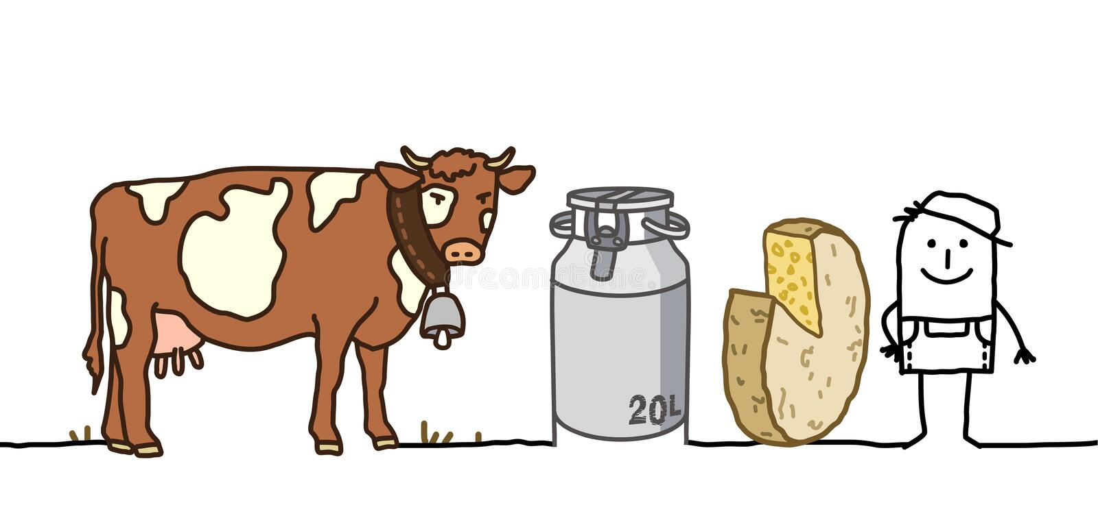Download Farmer With Cow, Milk & Cheese Stock Vector - Image: 18443250