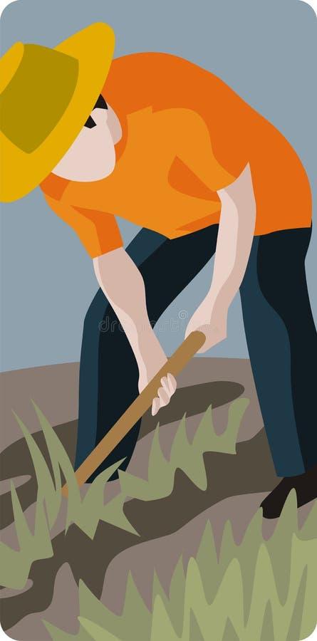 Farmer Digging a Field royalty free illustration
